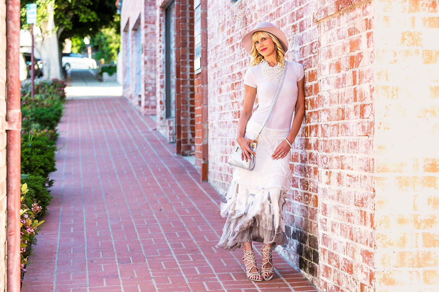 Purple Poppy Skirt Michael Stars Hat Malaga Cove Street Shot