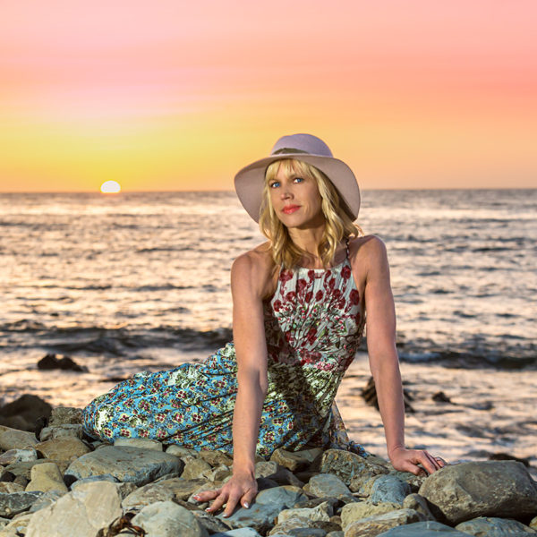 Palos Verdes sunset in Anthropologie dress and Michael Stars hat