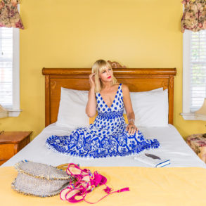 CatherineGraceO Sitting Essex Street Inn Bed Feature