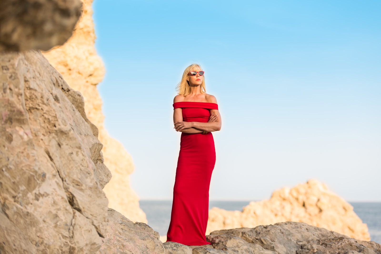 CatherineGraceO Standing on Cliffs in Red Dress