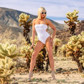 White One Piece in Heels - Joshua Tree National Park